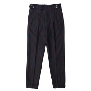 "BANTS Wool Flannel Stripe Cuffed Gurkhas Pants ""Navy"""