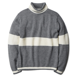 "OOPARTS Roll-Neck Striped Wool Sweater ""Grey"""