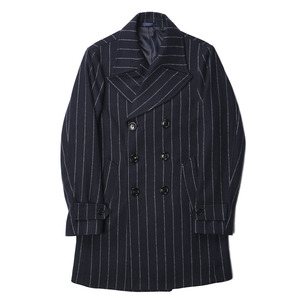 "BANTS Tweed Wool Stripe Double Breasted Coat ""Navy"""