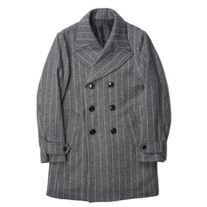"BANTS Tweed Wool Stripe Double Breasted Coat ""Grey"""