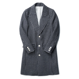 "OOPARTS Notch-Lapel Wool Coat ""Navy x Grey Circle Check"""