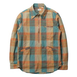 "Gooseberry Lay & Co. Paul Zipper Pullover Shirts ""Vintage Green Flannel Check"""