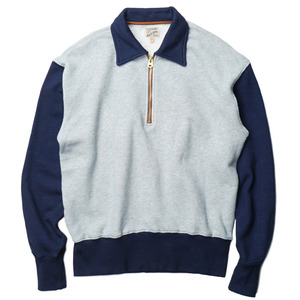 Gooseberry Lay & Co. Two-Tone Indigo Sweatshirts With Talon Zipper