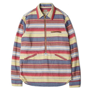 "Gooseberry Lay & Co. Paul Zipper Pullover Woodsmen's Shirts ""Multi Horizontal Stripe"""