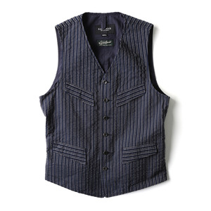 "EASTLOGUE Explorer Vest ""Navy & Grey Stripe"""