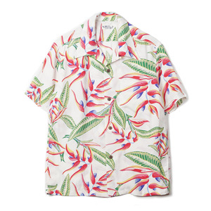 "SS37463 Hanging Heliconia Rayon S/S Shirt ""105 Off White"""
