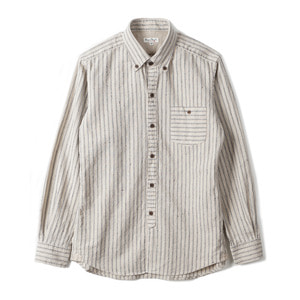 "BURGUS PLUS BP14507-1 C/L Stripe B.D Shirt ""Natural"""