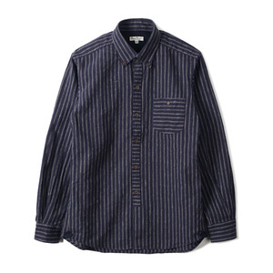 "BURGUS PLUS BP14507-1 C/L Stripe B.D Shirt ""Navy"""