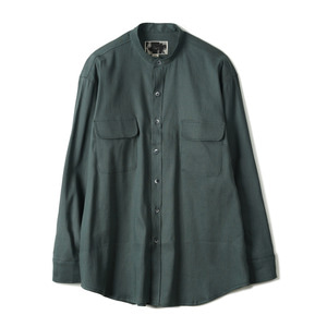 "OOPARTS OPT18SSSH03GR Linen Blend Collarless Shirt ""Green"""
