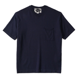 "OOPARTS OPT18SSTP04NV Patch Pocket Short Sleeve Sweater ""Navy"""