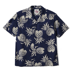 "DUKE KAHANAMOKU Duke's Pineapple Cotton Open Shirt ""Navy"""