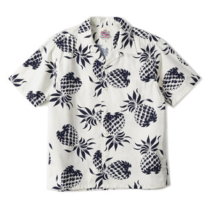 "DUKE KAHANAMOKU Duke's Pineapple Cotton Open Shirt ""White"""