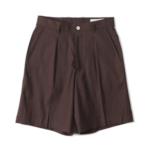 "SHIRTER One Pleated Wide Shorts ""Dark Brown"""