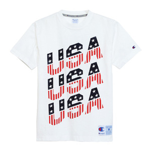 "CHAMPION Action Style USA T-Shirts C3-H370 ""White(010)"""