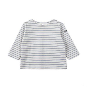 "NOCLAIM Kids Boat-neck Basque Shirt ""Ivory x Sky"""