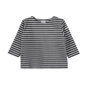 "NOCLAIM Kids Boat-neck Basque Shirt ""Grey x Black"""