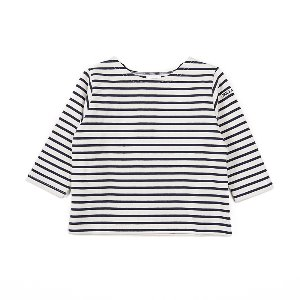 "NOCLAIM Kids Boat-neck Basque Shirt ""Ivory x Navy"""