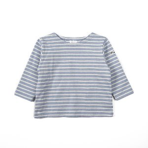 "NOCLAIM Kids Boat-neck Basque Shirt ""Sky x Ivory"""