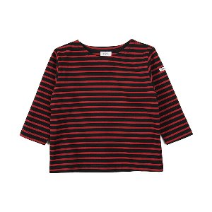 "NOCLAIM Kids Boat-neck Basque Shirt ""Black x Red"""
