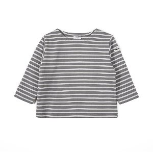 "NOCLAIM Kids Boat-neck Basque Shirt ""Grey x Ivory"""