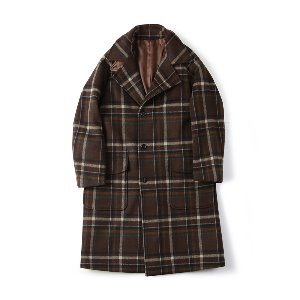 "SHIRTER Belted Wool Check Coat ""Check Brown"""