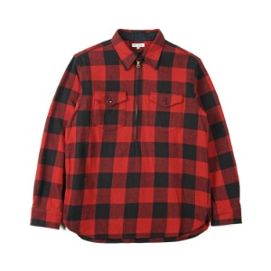 "BURGUS PLUS Block Check Pull Over Zip Shirt ""Red"""