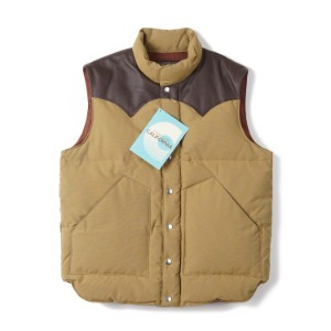 "SUGAR CANE SC12340 Leather Yoke Down Vest ""Beige"""