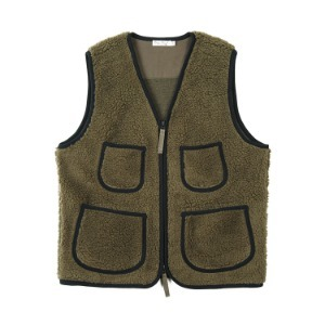 "BURGUS PLUS No Collar Inner Fleece Vest ""Olive"""