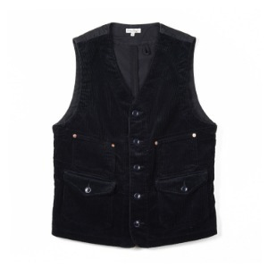"BURGUS PLUS Original Wide Wale Corduroy Work Vest ""Navy"""