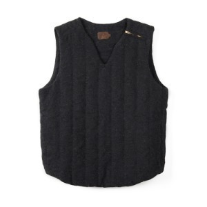 "OOPARTS Jacquard Wool Quilted Vest ""Charcoal"""