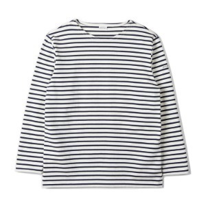 "NOCLAIM Boat-neck Basque Slit Shirt ""Ivory x Navy"""