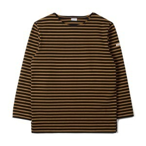 "NOCLAIM Boat-neck Basque Slit Shirt ""Black x Camel"""