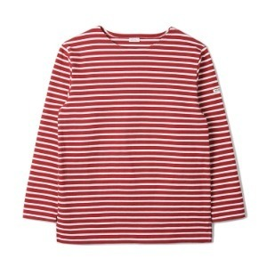 "NOCLAIM Boat-neck Basque Slit Shirt ""Red x Ivory"""