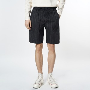 EASTLOGUE Black Slub Shorts