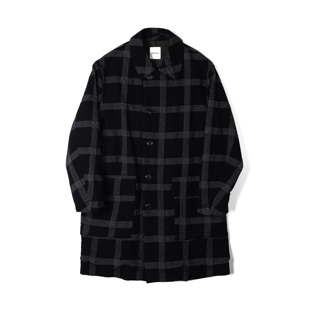 "Sage De Cret Convertible collar Coat ""Black Check"""