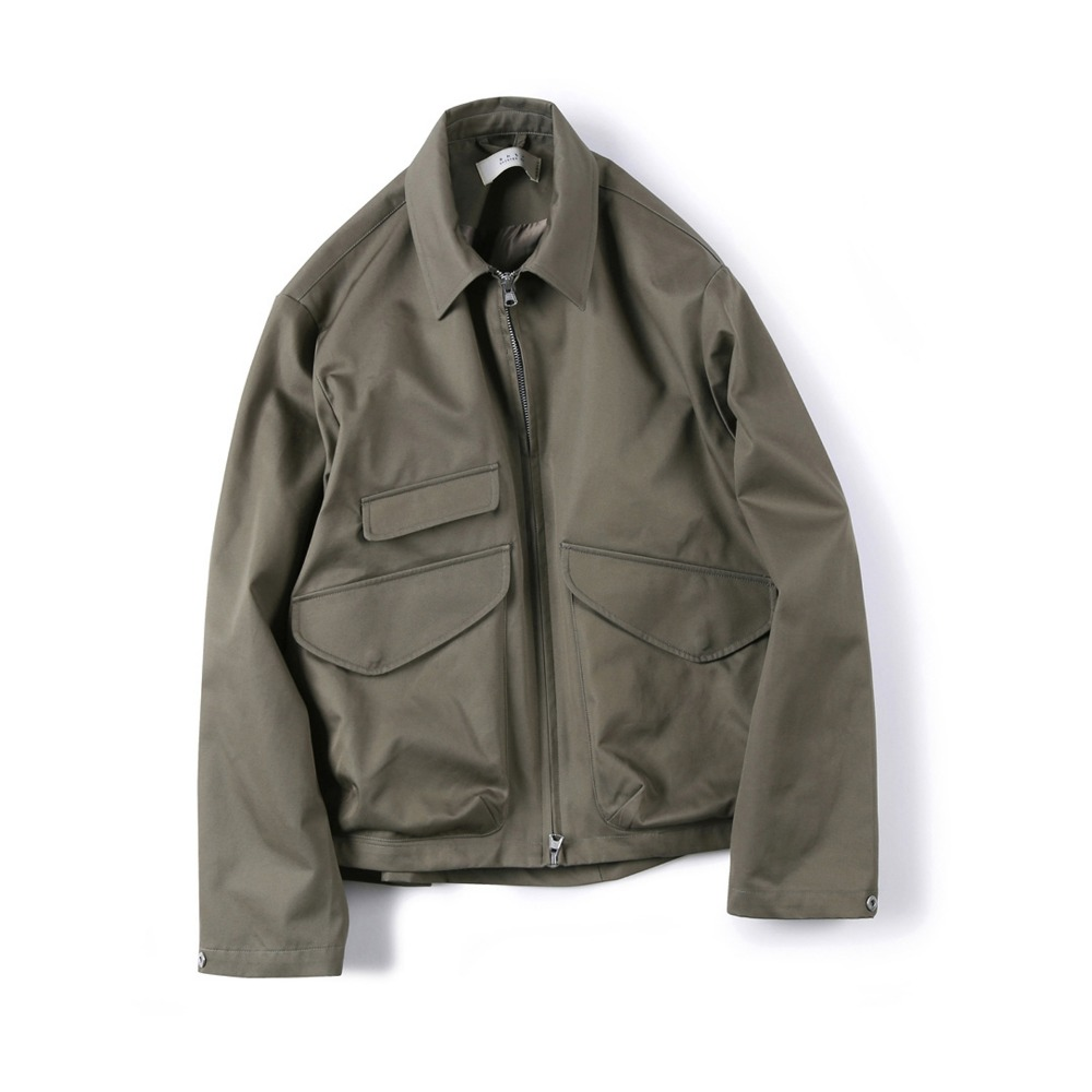 "SHIRTER Gabardine Cotton Zip-up Jacket ""Khaki"""