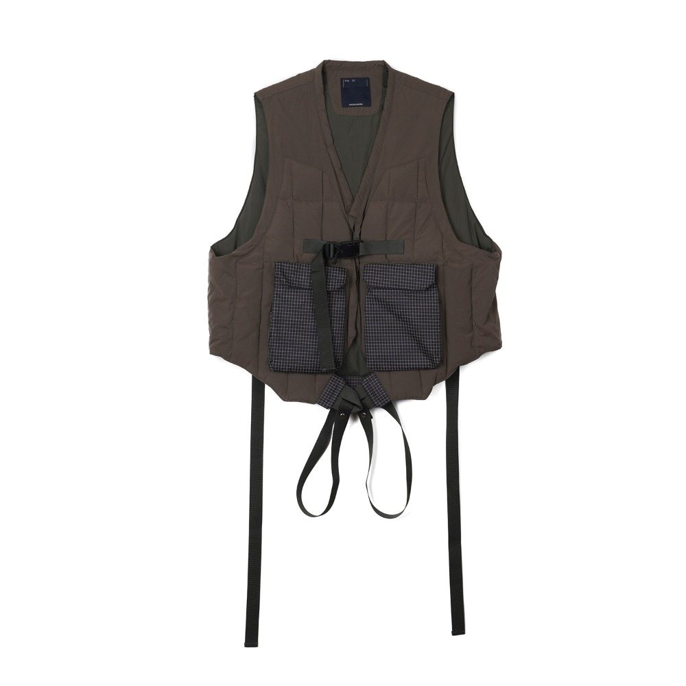 "MEANSWHILE Peach Cloth Down Vest/L6 ""Olive"""