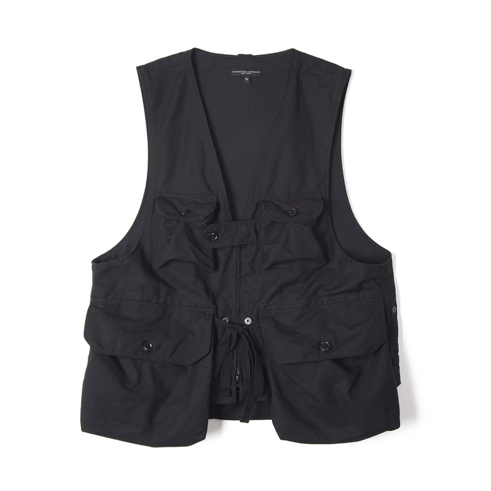 "ENGINEERED GARMENTS Game Vest ""Black Cotton Double Cloth"""