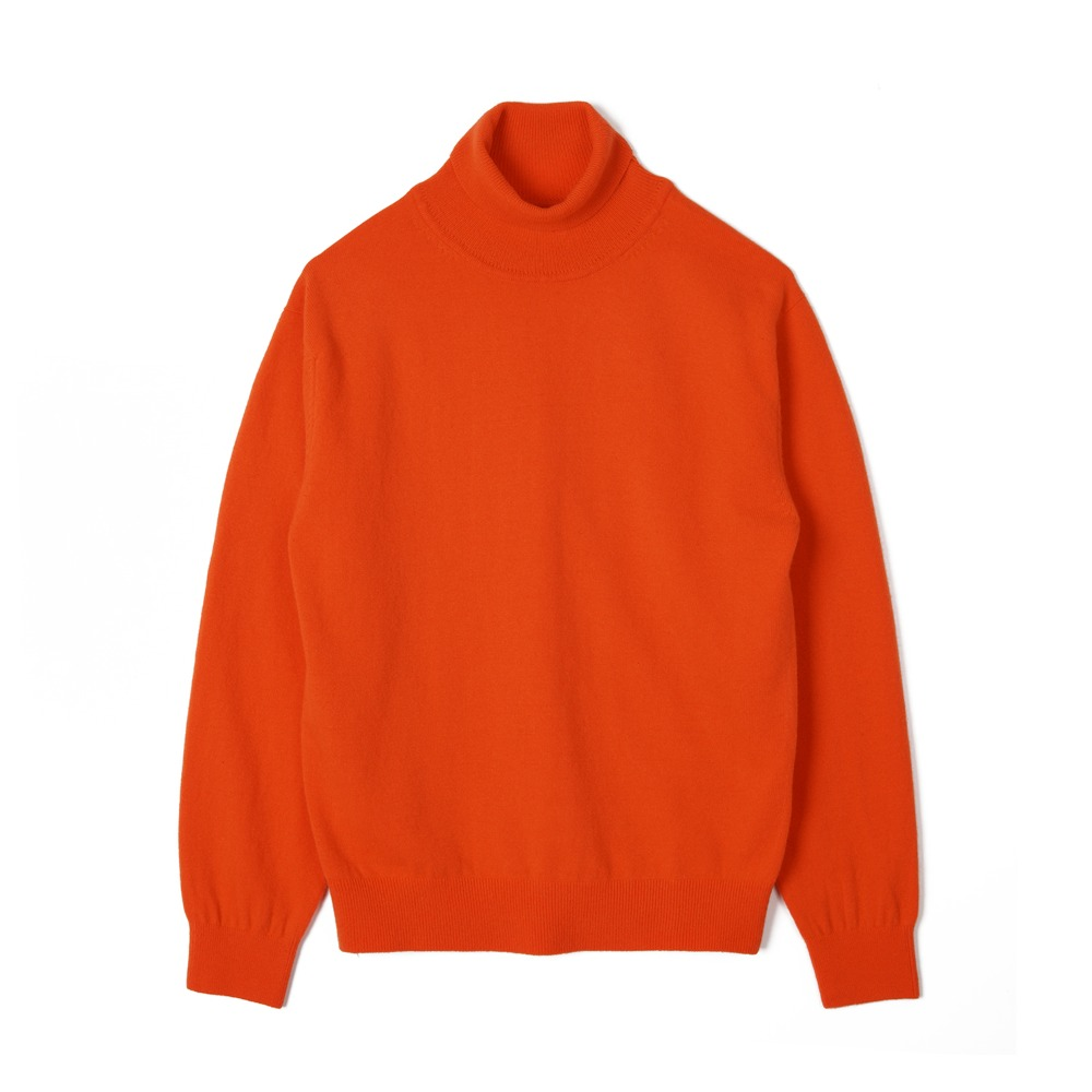 "TRICOTER Cashmere Blend Rollneck Sweater ""Orange"""