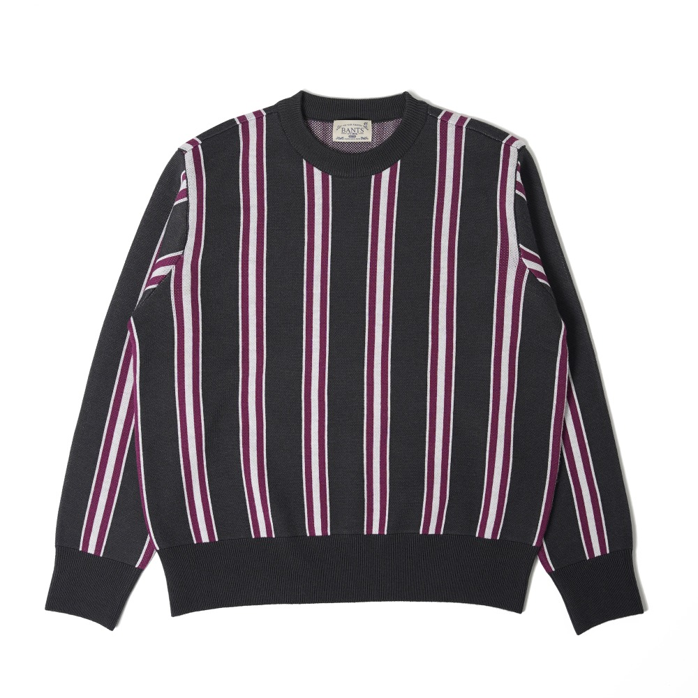 "BANTS OSF Stripe Knit Crewneck Sweater ""Grey"""