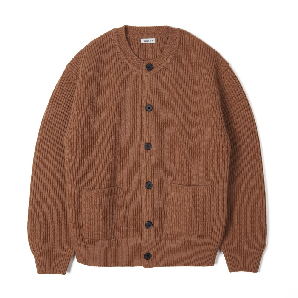 "TRICOTER Chunky Ribbed Full Cardigan ""Brown"""