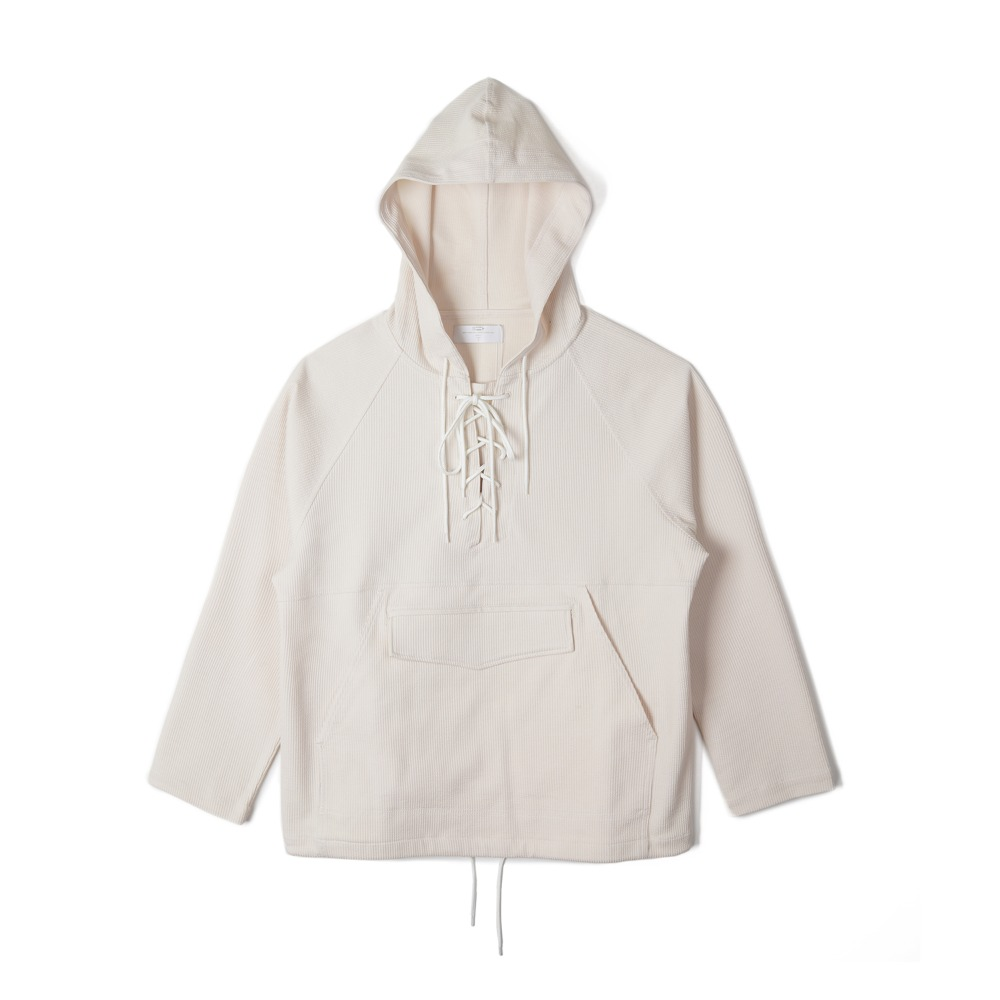"BUNT Knitted Corduroy Laceup Anorak ""Ivory"""