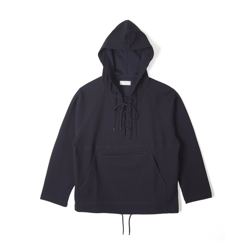 "BUNT Knitted Corduroy Laceup Anorak ""Navy"""