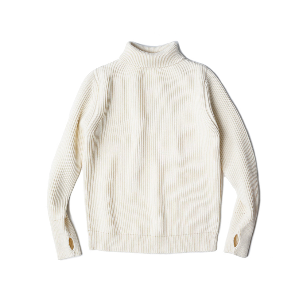 "ANDERSEN-ANDERSEN Navy Turtleneck Symmetrical ""Off-White"""