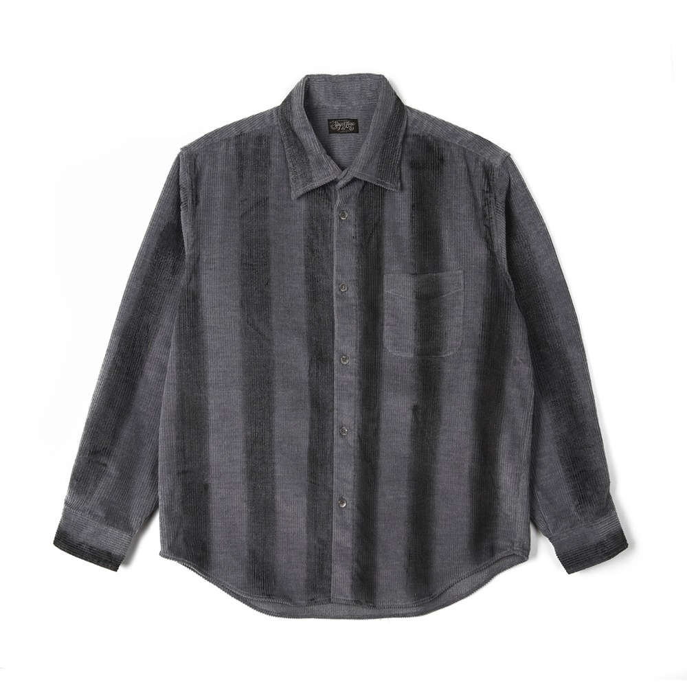 "SUGAR CANE Corduroy Ragular Collar Shirt Rolled Touched ""Gray"""