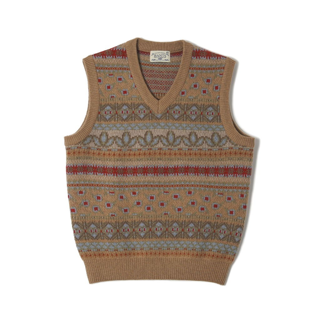 "BANTS OSF Tasmania Wool Fair Isle Knit Vest ""Beige"""