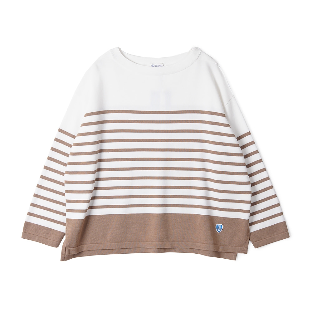 "ORCIVAL Woman Cotton Knit ""White x Cork"""