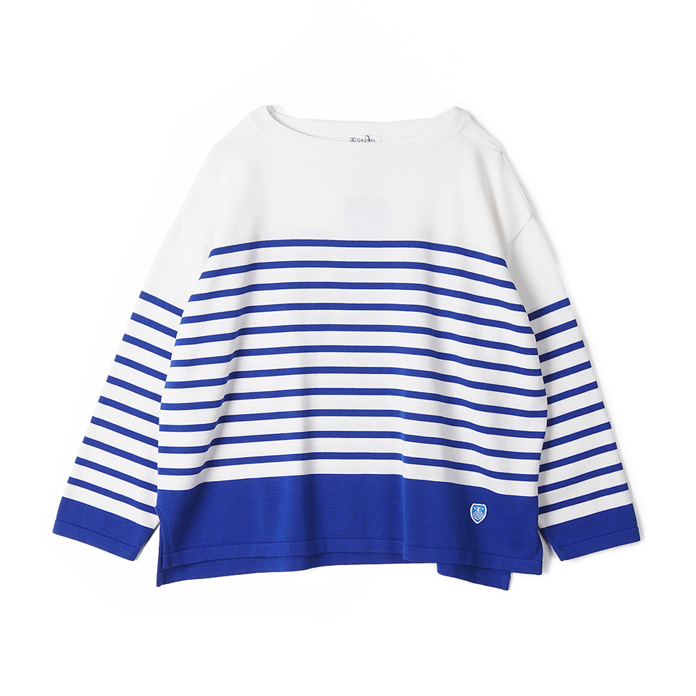 "ORCIVAL Woman Cotton Knit ""White x Royal"""