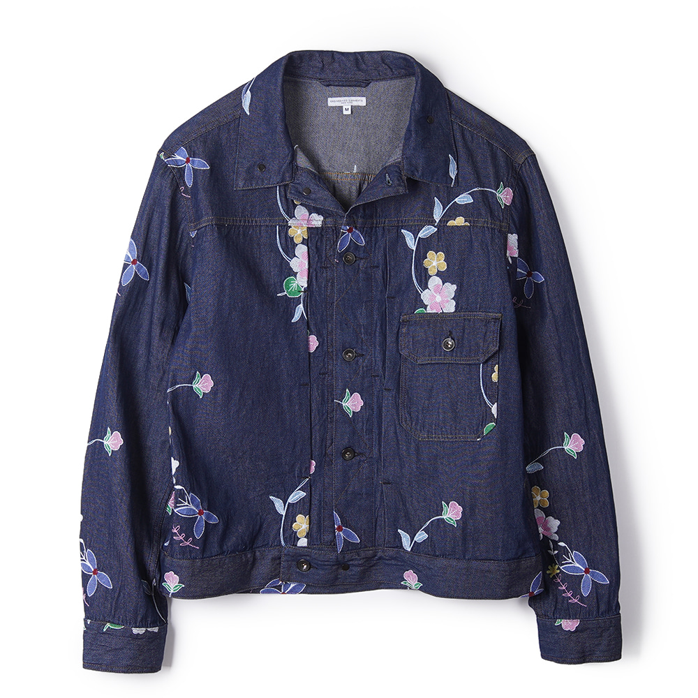 "ENGINEERED GARMENTS Denim Floral Embroidery Trucker Jacket ""Indigo"""