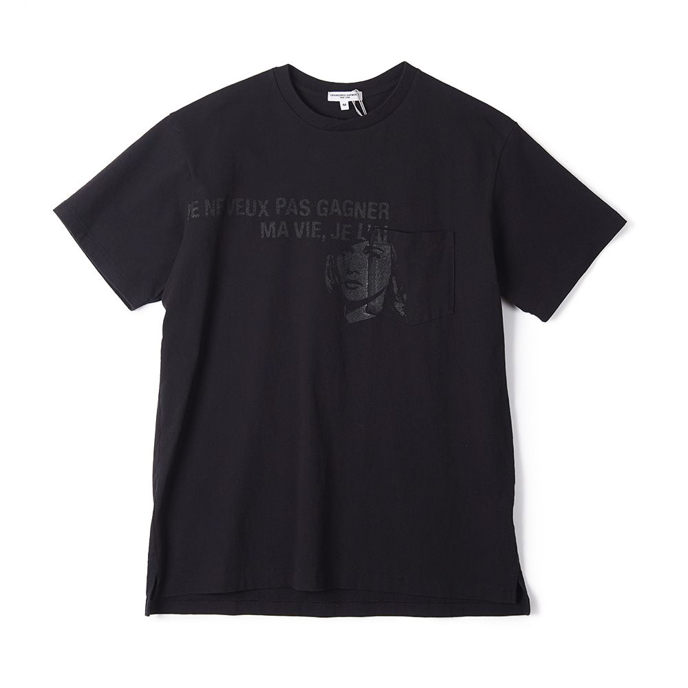"ENGINEERED GARMENTS W/Girl Print Printed Cross Crew Neck T-Shirt ""Black"""